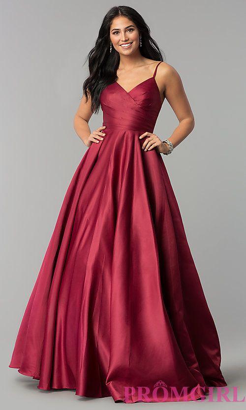 09f47d2e Long V-Neck Prom Dress with Adjustable Straps | Prom | Prom dresses ...