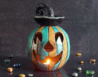 Portacandele zucca di Halloween in ceramica raku, diffusore oli essenziali, bruciaessenze, decorazione halloween, lanterna di halloween