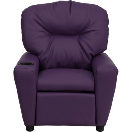 Flash Furniture Kids' Vinyl Recliner with Cup Holder, Multiple Colors, Purple