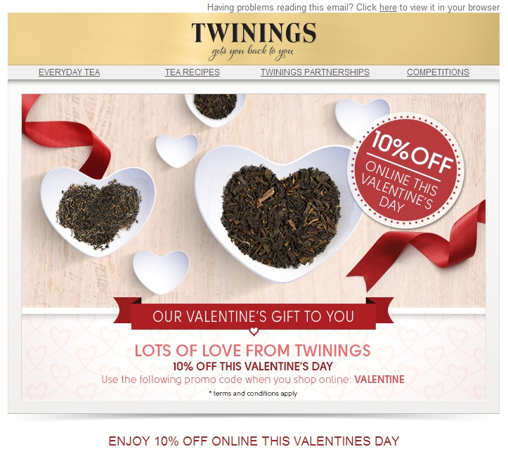 Twinings Valentine email