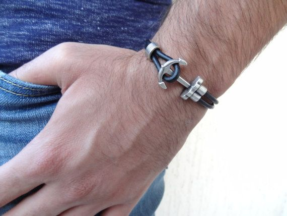Men's Black Leather Bracelet, Men's Jewelry, Anchor Bracelet, Nautical Jewelry, Men's Cuff Bracelet, Gift for Him, Father's Day Gifts