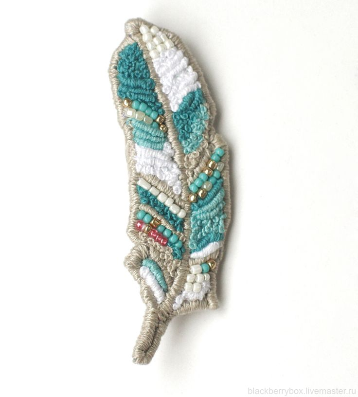 embroidery feather/ brooch