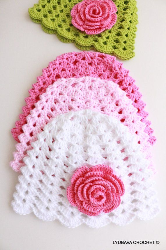 293af498f1a Crochet PATTERN Baby Hat With Rose Flower Pattern Baby Girl