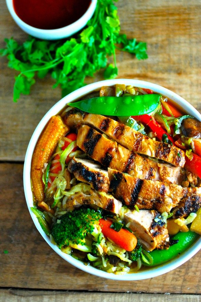 SMOKY GRILLED CHICKEN WITH ZUCCHINI RAMEN NOODLES - Low Carb if you stick to low carb veggie choices.