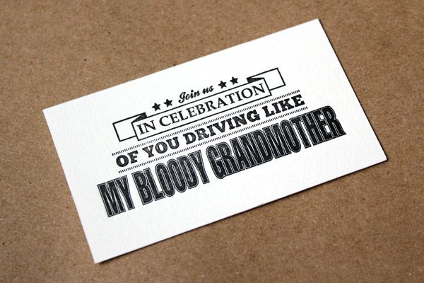 Road Rage Calling Cards  You are welcome