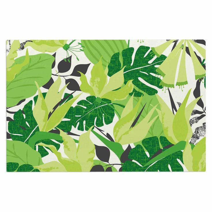 "Jacqueline Milton ""Tropicana - Green"" Lime White Decorative Door Mat"