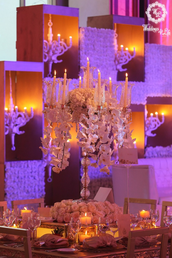Orchids And Chandelier Centerpiece Candles Flowers Table Weddings Lebanon
