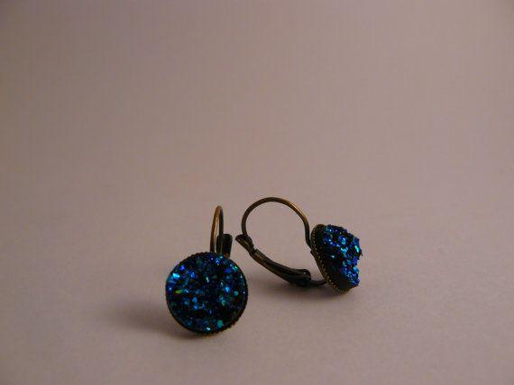 Blue Green Glitter Earrings on Etsy, $16.00