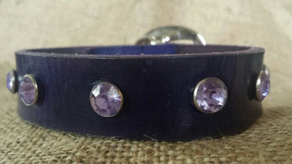 Purple leather dog collar with purple gems by SHFLeather on Etsy