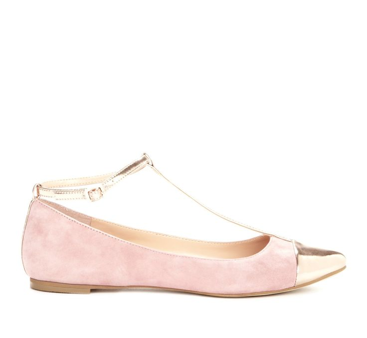 Rose colored flats with metallic detailing