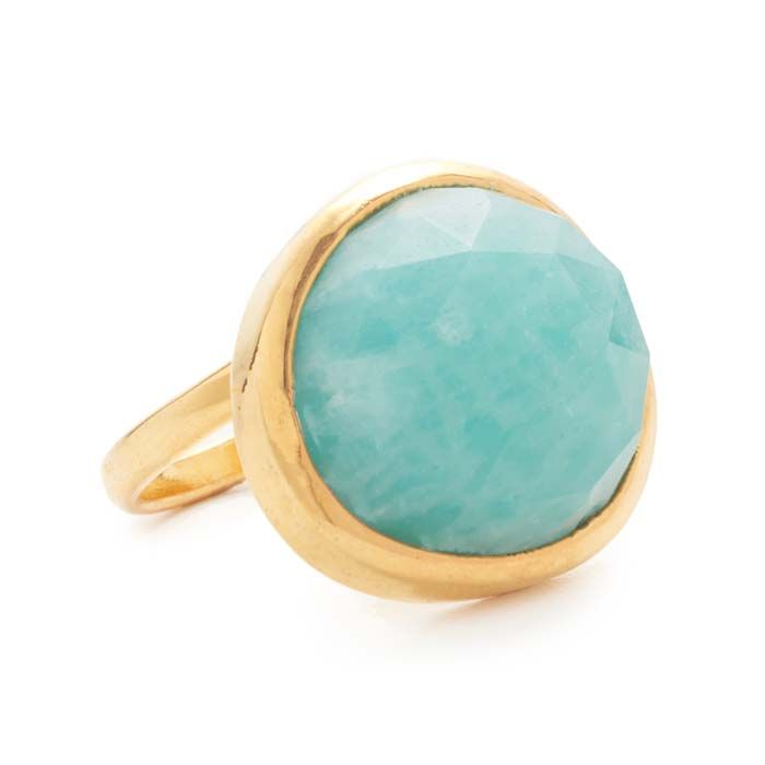 A faceted amazonite stone trims the center of this Nakamol Kenzie Ring. 14k gold-plated brass. $34. Free worldwide express delivery. Buy here. Related posts: Turquoise Apollo Tassel Drops Turquoise Beaded Necklace Teal Seaglass Bib Turquoise Couture Collar Necklace