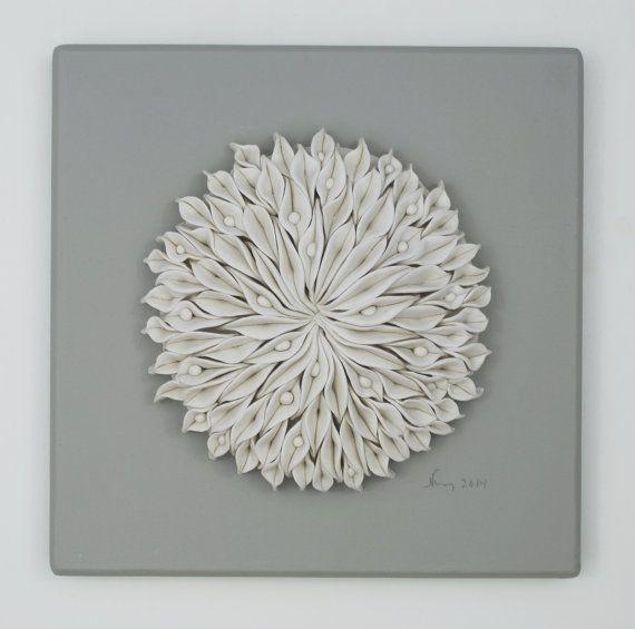 White flower porcelain ceramic tile decorative textured for Ceramic wall art