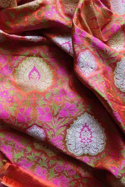 Orange banarasi brocade fabric with meenakari - WeaverStory - 1