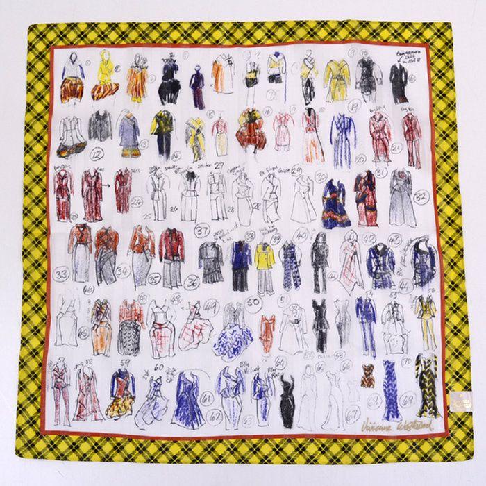 【VivienneWestwood/ヴィヴィアンウエストウッド】◆ハンカチデッサン柄/デザイン・ドレス・手描き風イエロー系【未使用】