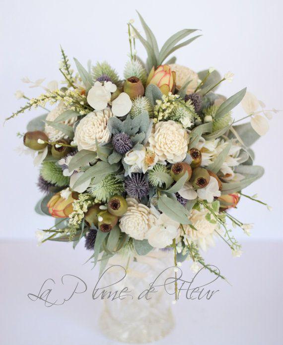 Tamborine Country chic wedding bouquet. Thistle by LaPlumeDeFleur