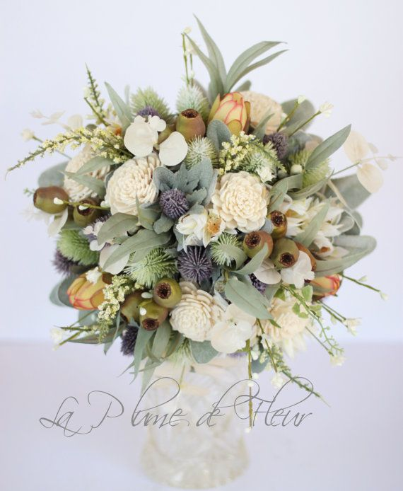 Tamborine Country chic wedding bouquet. Thistle by LaPlumeDeFleur