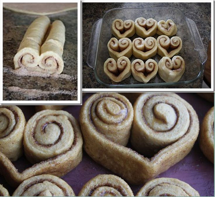 Cinnamon Heart Rolls - Instead of rolling the cinnamon rolls straight across, roll up both sides until they meet in the middle. Slice and bake :)