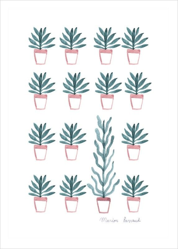 Aquarelle Plantes, Thème Nature, Illustration de Marion Barraud