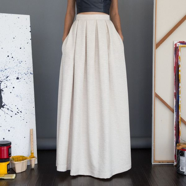 Pleated High Waisted Maxi Skirt