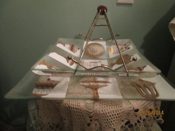 Mid Century Glass Tray Set / Modern Serving Trays Set / Vintage Platters