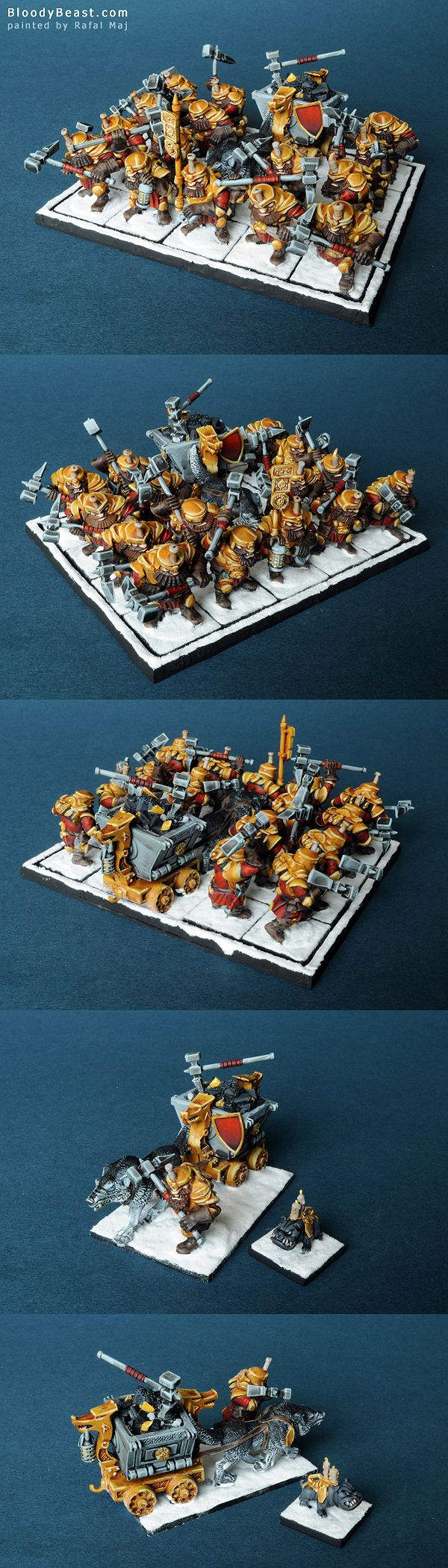 Miners are converted from Mantic Dwarf IronClads and Shieldbreakers. Painted to match the rest of Mantic Dwarf Army. Those Dwarfs have pick-hammers and are able to be fielded as both: Miners with f...