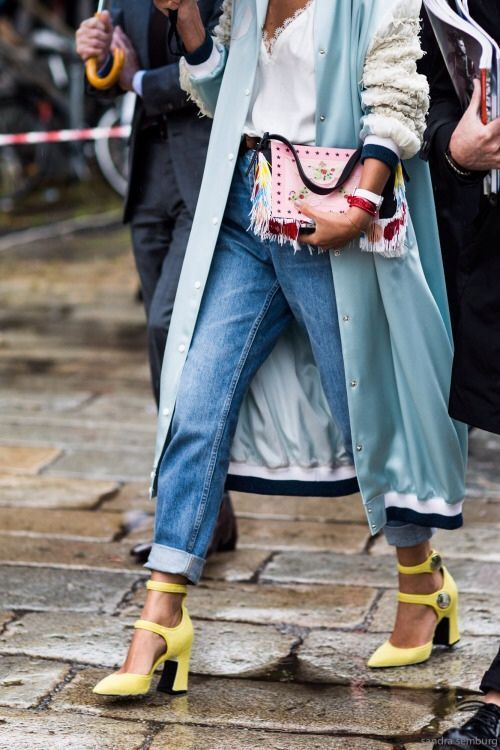 Dress your denim up with bold heels and a statement-making jacket.