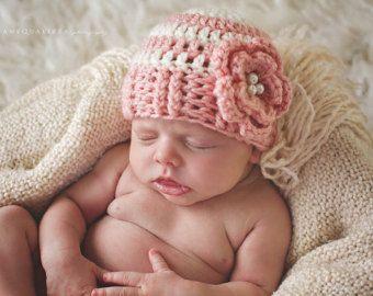 Pasgeboren baby meisje hoed meisje babymutsje, pasgeboren meisje hoed, pasgeboren meisje foto prop, kleren van de baby meisje, meisje komt thuis outfit, roze bloem