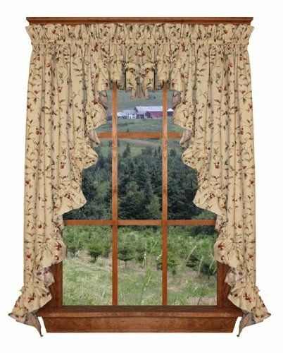 Cherry Blossoms Print Ruffle 3 Piece Swag Curtains Set 132 Inch By 63