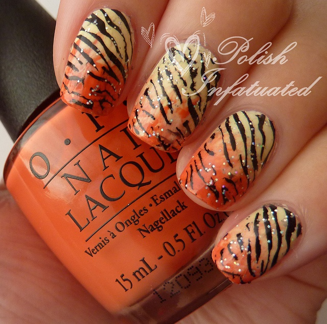 tiger nails!1 by polishinfatuated, via Flickr