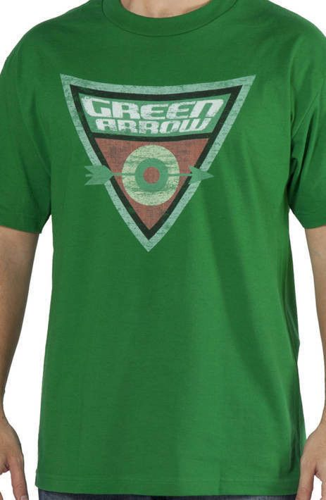 This Green Arrow shirt features a shield style logo for Oliver Queen, the billionaire and former mayor of Star City. This shirt is similar to the one worn by Sheldon Cooper on Big Bang Theory. His shi