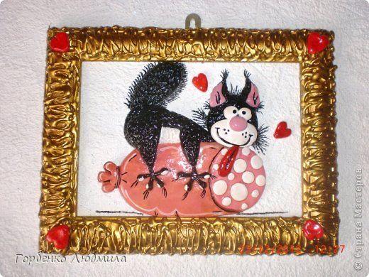 Картина панно рисунок Лепка Повторялки - кот и домовой Акварель Гуашь Тесто соленое фото 3