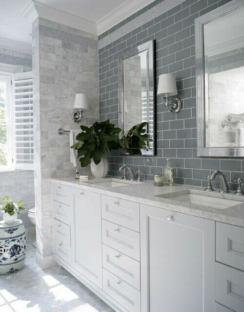 Love this! tile on wall with small light fixtures tile wrapped around wall small hex on floor