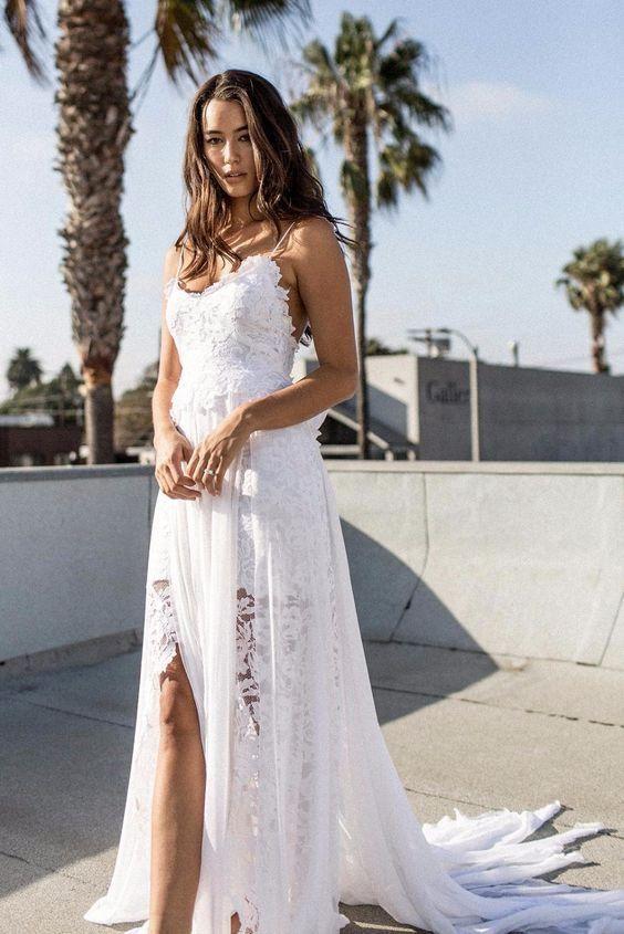 a0e7a57c8ba9 A-line Spaghetti Strap White Lace Chiffon Beach Wedding Bridal Dresses -  SheerGirl