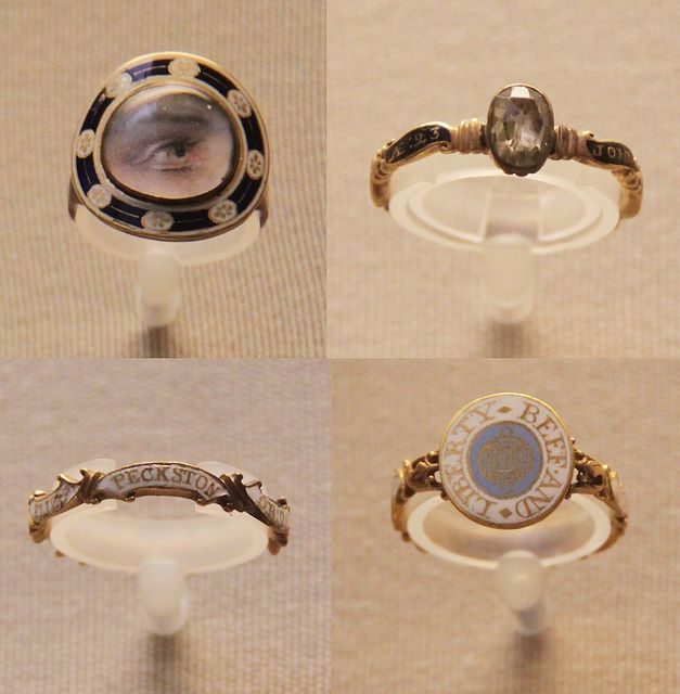 Ring with painted miniatures 1742, 3 English enamelled gold mourning rings with inscriptions, 1729-80 Earlier skulls and skeletons were replaced by more decorative forms. Most popular was a band of five scrolls inscribed on the outside. Mourning rings, ordered from stock with the sums specified in wills, were given out at funerals to family and friends. The inscriptions, added at the last minute, used the standard Latin abbreviations: obt (obit = died), and aet (aetat = aged). British Museum