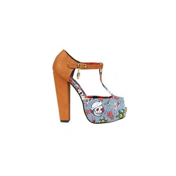 Iron Fist Womens Filthy Landlubber T-Bar Platform Shoes, Blue ❤ liked on Polyvore (a favourite repin of VIP Fashion Australia )