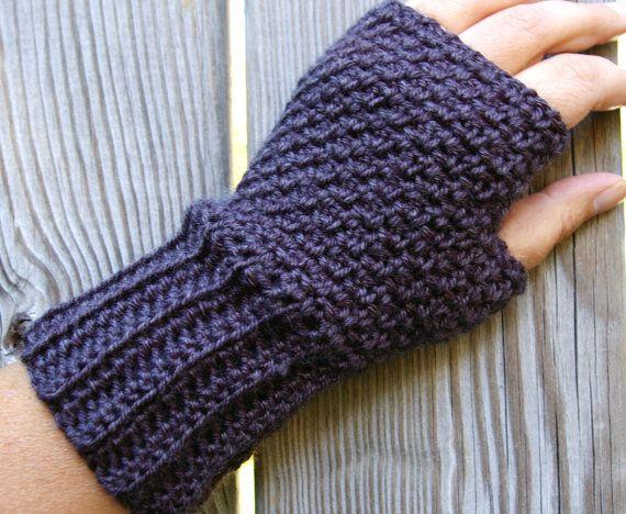 Guantes sin dedos, guantes sin dedos, manguitos, guantes de conducción en carbón de leña gris de ganchillo