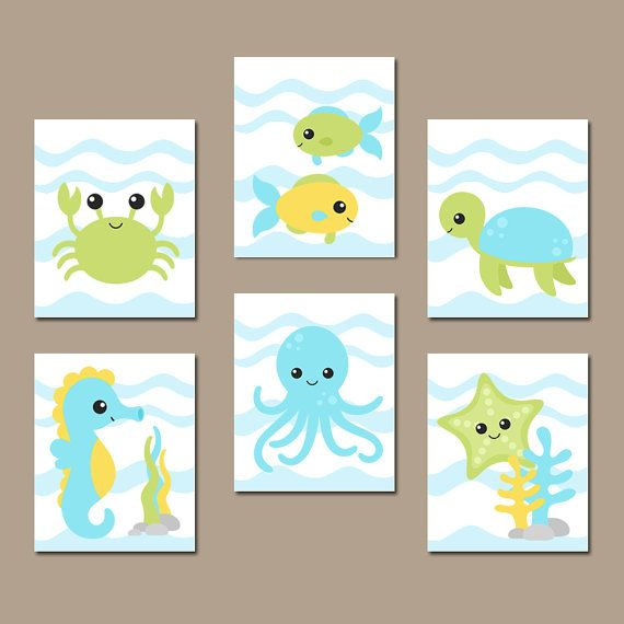 Boy ocean nursery wall art nautical theme bathroom child for Animal themed bathroom decor
