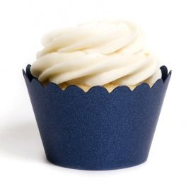 Navy Blue Cup Cake Wrappers and Liners | Dress My Cupcake