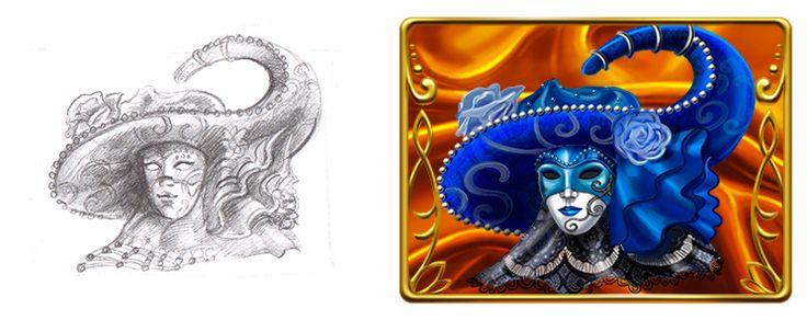 "Graphic design of symbols for the game slot machine ""Venezsia"" http://artforgame.com"