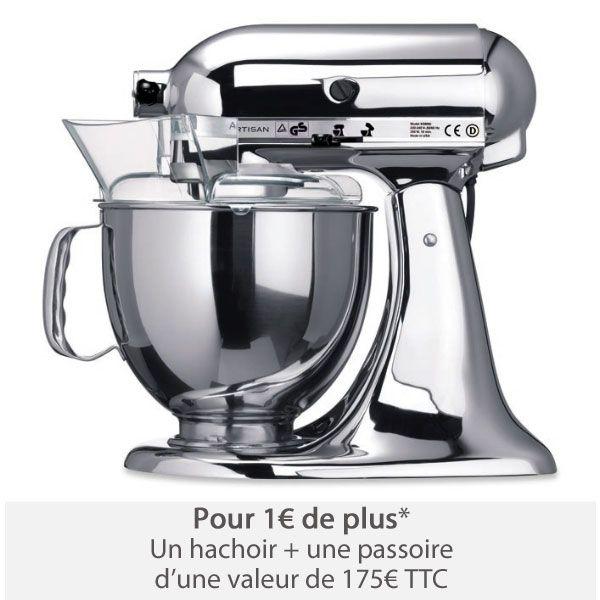 Robot Multifonctions Artisan Chromé Kitchenaid prix promo Robot culinaire Mathon 764.99 € TTC au lieu de 849.99 €