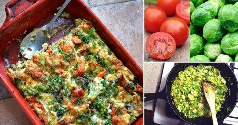 Fácil soufflé de puerro, repollitos, albahaca y tomates cherry