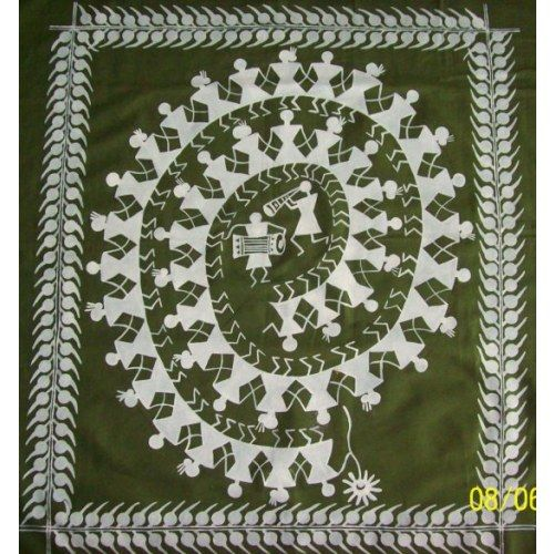 """Warli art form is originally from Maharashtra.These are symbloic paitings done on the walls of the tribal's houses to depict certain sequence.  This hand painted wall hanging also depicts a sequence wherein tribal people are making merry by blowing the trumpet n nagara as well as dancing along.  Once displayed on your wall, this piece of art will surely mesmerize the onlookers and make it picture perfect.  Dimensions:-  Overall fabric-38.5""""x34.5""""  Fabric:-Mossgreen Cotton  Price: INR 999/-"""