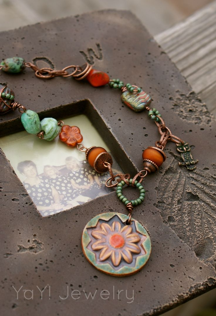 bohemian necklace with chrysoprase lampwork and czech glass artisan porcelain pendant