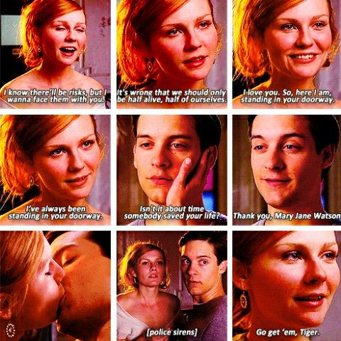 This scene is one of the most beautiful from the trilogy. Peter Parker and Mary Jane at Spiderman 2 quotes