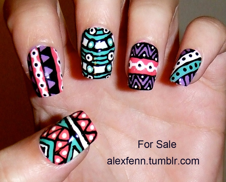 Hand painted aztec/tribal fake nails by CompulsiveNails on Etsy