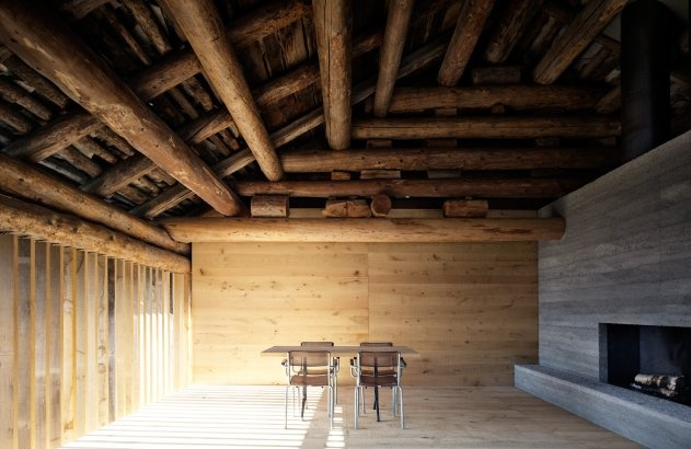 Redevelopment of A Barn in Soglio, Switzerland / Ruinelli Associati ArchitettiWooden Chairs, Associati Architetti, Ruinelli Associati, Children'S Renovation, Dining Spaces, Wooden Wall, Wooden Tables, Barns House, Old Barns