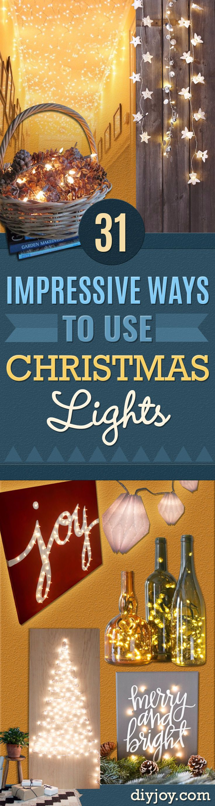 Cool Ways To Use Christmas Lights - Best Easy DIY Ideas for String Lights for Room Decoration, Home Decor and Creative DIY Bedroom Lighting - Creative Christmas Light Tutorials with Step by Step Instructions - Creative Crafts and DIY Projects for Teens and Adults http://diyjoy.com/cool-ways-to-use-christmas-lights