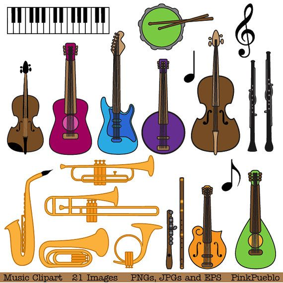 Our Music Clipart includes 21 PNG files with transparent backgrounds, 21 JPG files with white backgrounds and one Adobe Illustrator vector file. The