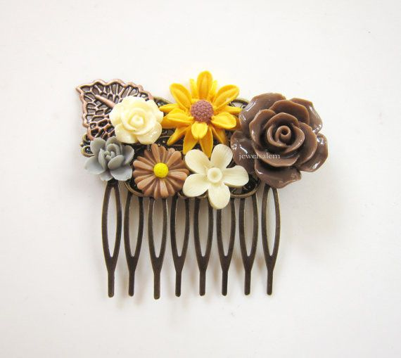 A retro shabby chic hair comb in mustard yellow and brown, with rustic woodland design, one of a kind!It is quite a big comb, measures: 7cm