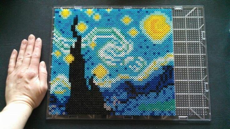 Starry Night perler bead art by Katie Bradley